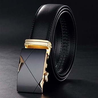 XixuanStore 自動ラチェットバックル付きメンズ本革ベルト用ドレスベルト (Color : Gold buckle, サイズ : 125cm)