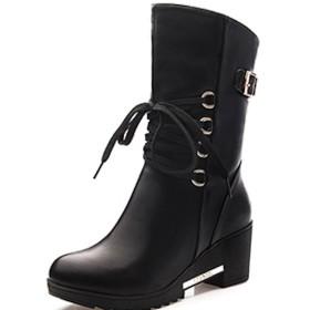 ブーツ ショートブーツ レディース 革 ウォーキングシューズ 革靴 レザー カジュアル 軽量 (25, ブラック)