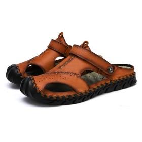 [XYZL] サンダル メンズ スポーツサンダル メッシュ ブラウン ビーチサンダル コンフォート アウトドア 歩きやすい 滑り止め おしゃれ ぺたんこ 外履き 25.5cm 内履き 甲高 レザー 2種類履き方 職場用 クッション性