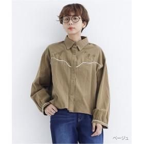 【20%OFF】 メルロー 馬刺繍コットンシャツ7804 レディース ベージュ FREE 【merlot】 【セール開催中】