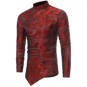 Romancly メンズロングスリーブアシンメトリーヘムダークバンドスタンドカラーシャツ Wine Red XS