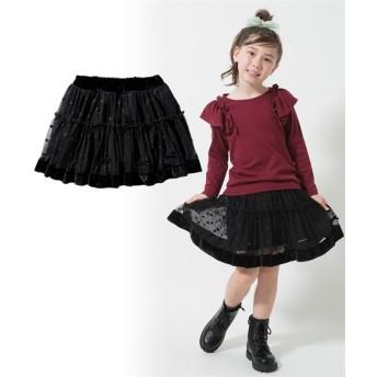 リボン付チュールパンツインスカート(女の子 子供服。ジュニア服) キュロット・パンツインスカート・スカート