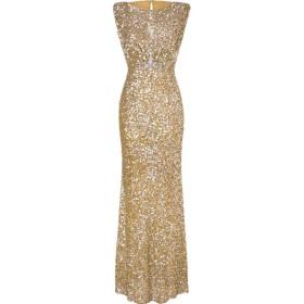gawaga Women's Sleeveless Long Back Hollowed Premium Sequin Glitter Pencil Dress Golden L