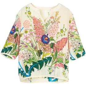 SIXIULIYU 夏の花のための100%の絹のワイシャツの自然で純粋な絹の女性のワイシャツは上を印刷しました (01, 2XL)