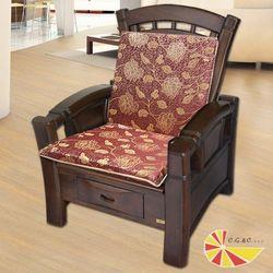 【凱蕾絲帝】木椅通高支撐加厚里昂玫瑰紅連體L型坐墊(6入)