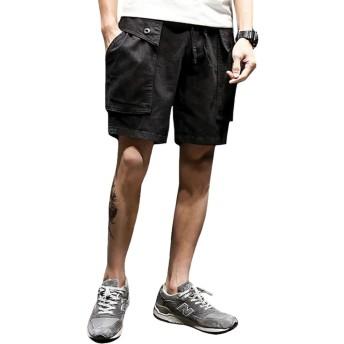 Foncaz ショートパンツ メンズ ハーフパンツ 夏 カーゴパンツ クロップドパンツ イージーパンツ ポケット付き 無地 カジュアル スポーツ 大きいサイズ (ブラック, XXL)