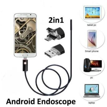 ■送料200円■マイクロスコープ 内視鏡 6LED USB接続 エンドスコープ 7mm 1m ケーズル android アンドロイドスマホ 対応 防水
