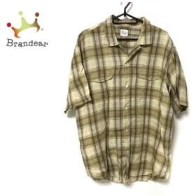 パパス Papas 半袖シャツ サイズL メンズ ベージュ×ライトブラウン×ライトグリーン チェック柄   スペシャル特価 20191020