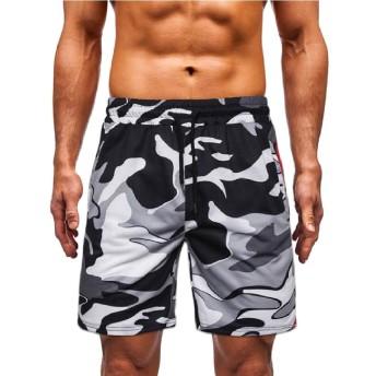 Keaac Men Camo Sport Active Running Workout Elastic Waist Shorts 1 L