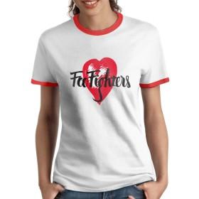 Foo Fighters フー ファイターズ Tシャツ ラグラン 女性 半袖 ラウンドネック 速乾性 カットソー 学生 アルバイト 夏服 かっこいい