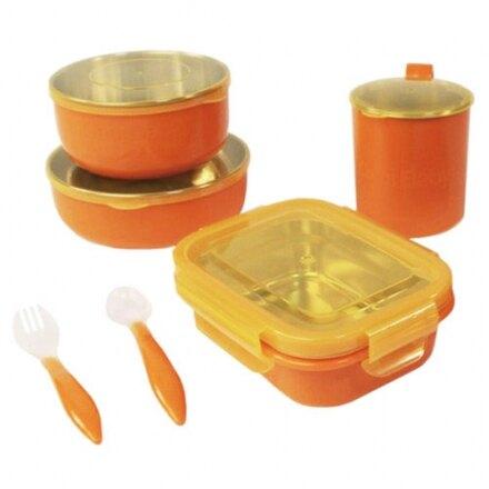 【淘氣寶寶】美國 Onbi baby 歐比寶貝 不繡鋼餐具4件組 橘色【保證原廠公司貨】