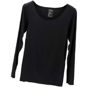 Romancly 女性ソフトプラッシュベース層スリムフィットティートップシームレスTシャツ Black XL