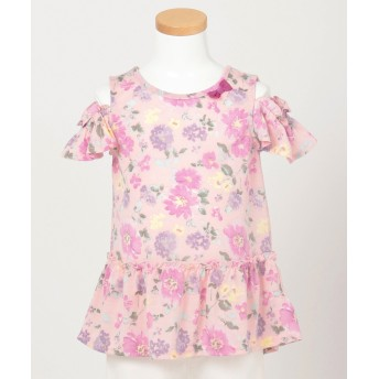 【オンワード】 any FAM KIDS(エニィファム キッズ) 【KIDS】オンオフショルダー 吸水速乾 花柄 Tシャツ ピンク 100 キッズ 【送料無料】