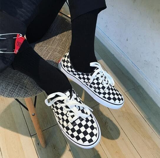 FINDSENSE Z1 日系 流行 時尚 情侶鞋 經典黑白格子 帆布鞋 原宿風