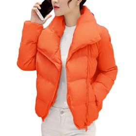 Valoda レディース厚キルト屋外ウインドパーム暖かい冬ダウンジャケット Orange US S