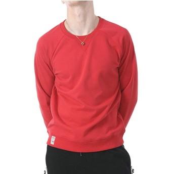 Qiangjinjiu メンズソリッドセーターカジュアルクルーネックOネックプルオーバーセーター Red L
