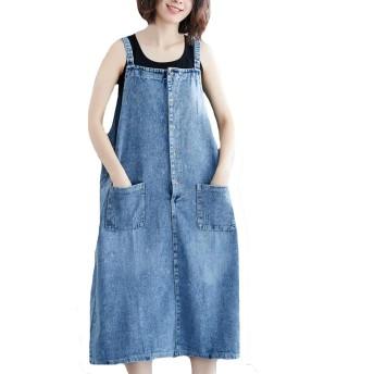 PASA デニムワンピース サロペット ジャンパースカート オールインワン ひざ丈 着痩せ 体型カバー 大きいサイズ ブルー XL