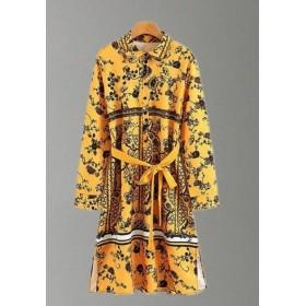 【ローズマリー】刺繍トップスパーカーロングシャツ コート トレンチコート春季新型欧米女装シャツワンピース着やせ式ハイプリント ロングワンピース ベーシック 大人気 ロングシャツ