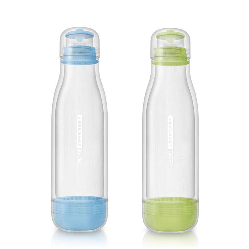 防撞玻璃水瓶500ml (兩入) 粉綠+水藍