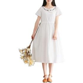 NOLCCTN 夏 ワンピースドレス レディース 綿麻 半袖 ィース 刺繍 ゴムひも Vネック 森ガール ゆったり 通気性 (M, ホワイト)