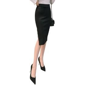 (ロンショップ)R.O.N shop スリット タイト スカート ひざ下 ハイウエスト フォーマル オフィス カジュアル 黒 (ブラック,M)