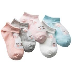 [インソミラ] InSomila 可愛い キッズ 子供 靴下 ソックス 動物柄 フォーマル くるぶし ジュニア 通気 メッシュ 5足 セット 薄手 カラフル 女の子 (17~19cm, 動物柄B)