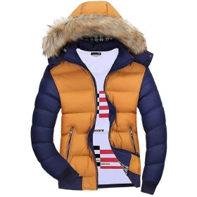 Qiangjinjiu メンズフォークスファーフード付きダウンジャケット冬の下着 Yellow L