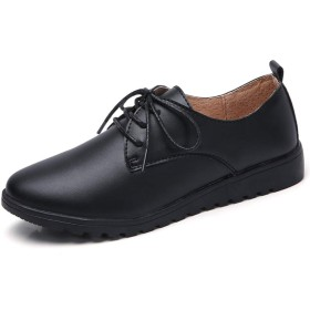 [Mingtudz] レディース 革靴 本革 レースアップシューズ おじ靴 オックスフォード レザー 歩きやすい 疲れにくい 黒39 ブラック 24.5cm