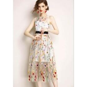 【送料無料】ドレス ワンピース 花柄 刺繍 膝丈 袖なし