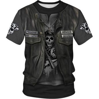 Rui Xie Tシャツ メンズ 半袖 men tee t-shirt ストリート系プリント柄 大きいサイズ 丸首 量軽爽快 冷感 面白い ドライ カジュアル 夏服 01130026X03+M+JP