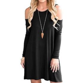 VITryst 女性の冷えたショルダーロングスリーブクルーネックカジュアルな服装のスイング Black S