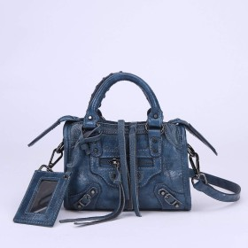 BOOM COOL レザーハンドバッグメッセンジャーバッグショルダーバッグファッション人気バッグ (Dark blue)