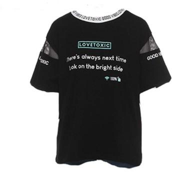 Lovetoxic(ラブトキシック) ロゴリブメッシュ切替Tシャツ (M,L:150,160) 8393205 (L(160cm))