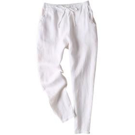 IXIMO レディース リネン ロングパンツ テーパードパンツ 無地 ウェストゴム ドロスト ゆったり カジュアル きれいめ パンツ ズボン 白 S