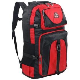 CTIIU バックパック 登山用 バッグ 大容量 60L 防水 丈夫 登山 ザック スポーツ アウトドア 長期旅行 かばん (レッド)