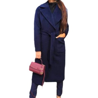 cheelot Women's Turn-down Collar Solid Color Mid Long Fall Winter Top Coat Navy Blue L
