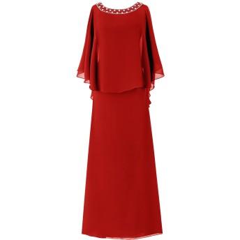 Dresstell(ドレステル) フォーマル 結婚式ドレス ドルマンスリーブ ビジュー付き ママのタイプ レディース レッド 29W号