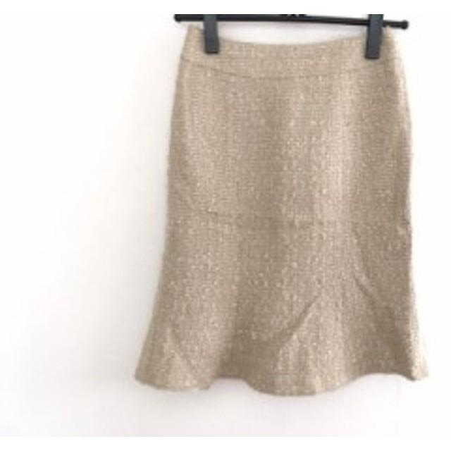 マテリア MATERIA スカート サイズ36 S レディース 美品 ベージュ×アイボリー ツイード/ラメ【中古】20190719