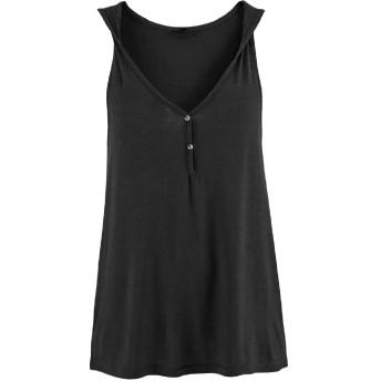 Candiyer 女性のカジュアルなノースリーブプルオーバー固体ワイルドフィットチュニックブラウスシャツ Black S