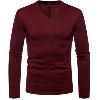 Nicircle メンズTシャツ 長袖 無地 春秋冬 Vネックトップス カジュアル シルエット人気 ファッション 高品質 Fashion Men's Long Sleeve Shirt Top Blouse【4色 S-2XL】 (レッド, M)