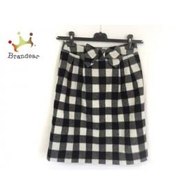 ギャラリービスコンティ スカート サイズ2 M レディース 美品 白×黒 チェック柄/リボン 新着 20190802