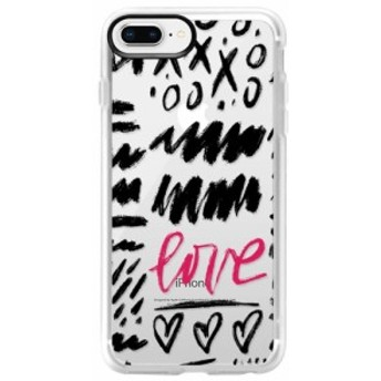 ケースティファイ CASETIFY レディース iPhone (8 Plus)ケース Love Scribbles iPhone 6/7/8 & 7/8 Plus Case Black /Pink