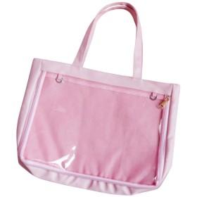 痛バッグ トートバッグ A4 フェイクレザー 2WAY 見せバッグ 透明 ビニール おたく バック かばん デイバック 痛バ 痛いバッグ 缶バッジ おしゃれ 大容量 (ピンク)