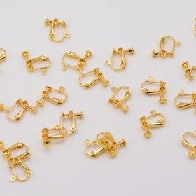 M2595-10 20個 イヤリング金具 ネジバネ 丸皿 4mm カン付 ゴールド 2X【10ヶ】
