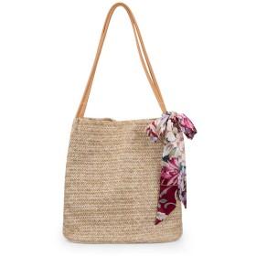 Vestarko トートバッグ カゴバッグ スカーフ付き ストローバッグ 草編みバッグ ハンドバッグ (ダックベージュ)