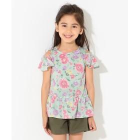 【オンワード】 any FAM KIDS(エニィファム キッズ) 【KIDS】オンオフショルダー 吸水速乾 花柄 Tシャツ スモーキーグリーン 80 キッズ 【送料無料】
