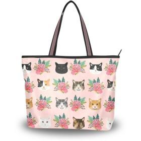 猫の顔 花柄トートバッグ レディース a4 軽量 布 大容量 通勤 ファスナー 2way 肩掛け 手提げバッグ おしゃれ 大きめ M L