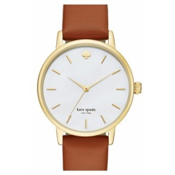 ケイト スペード KATE SPADE NEW YORK レディース 腕時計 'metro' round leather strap watch, 34mm Brown/Mother Of Pearl