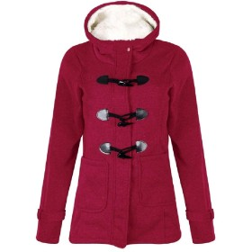 AngelSpace Women Hooded Thick Wool-blend Fall Winter Plus-Size Jacket Coat Wine Red XS