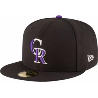 ニューエラ New Era メンズ キャップ 帽子 Colorado Rockies 59Fifty Game Black Authentic Hat